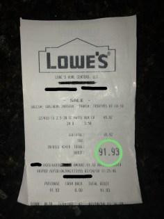 hardware drawer pull knob receipt