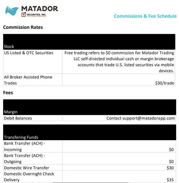 matador fee schedule