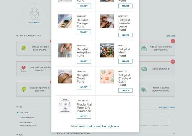 prudential term life insurance babylist registry