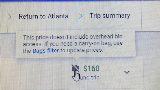 How to save money on Google Flights - bags feature