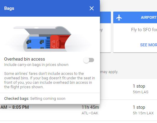 Bags filter - How to save money on Google Flights
