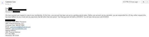 ABC Financial gym contact cancel confirmation