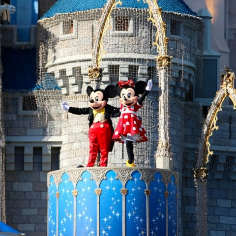 disney castle with mickey mouse and minnie mouse