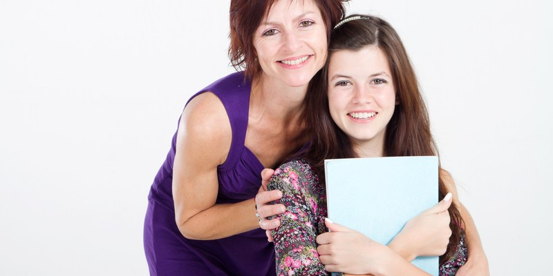 Girl and mother in portrait