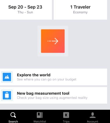 Kayak app's new augmented reality feature saves you time and money on baggage fees