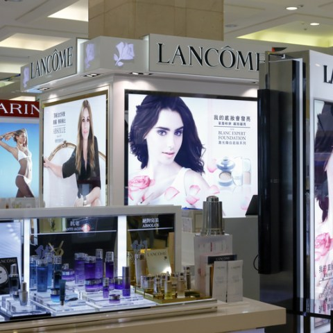 lancome counter at mall store