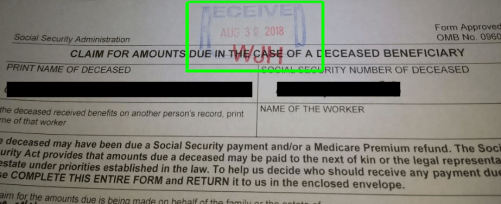 Stamp on Social Security disability claim