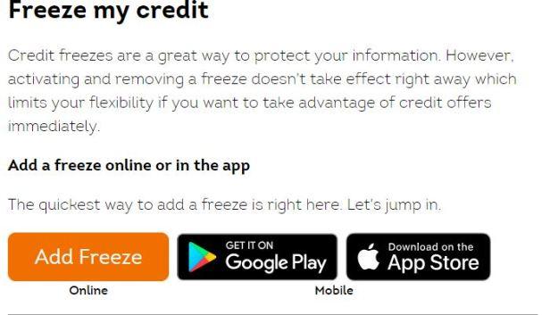 TransUnion credit freeze