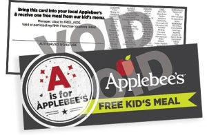 applebee's free kid's meal