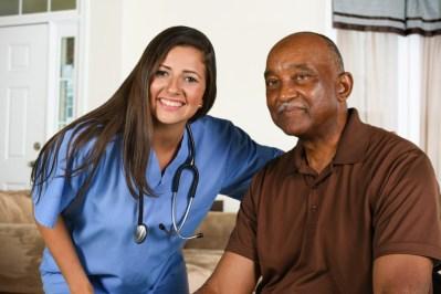 healthcare senior citizen nurse smiling via dreamstime