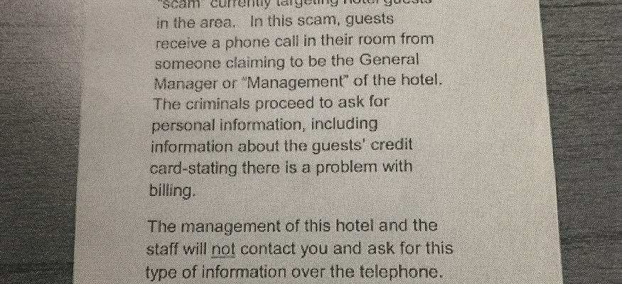 Hotel phone scam targets guest with calls from fake 'manager'