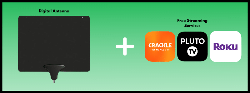 A digital antenna combined with all or one free streaming service depicting apps for Crackle, Pluto TV and The Roku Channel is the cheapest way to cut cable.