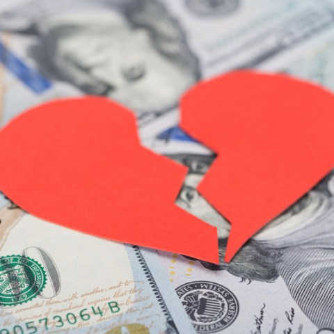 Broken Heart On Dollar Bills