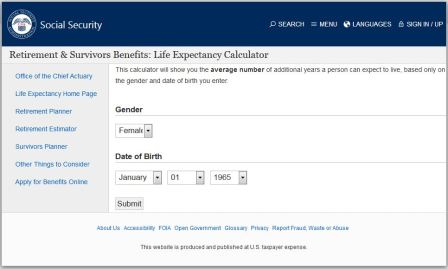 life expectancy calculator from social security administration