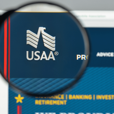 USAA website with magnifying glass