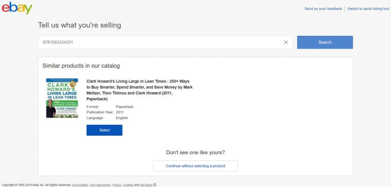 For media like books, eBay will automatically recognize your UPC, ISBN, part number or product name.