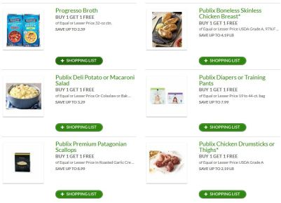 publix bogo buy one get one free items shopping list