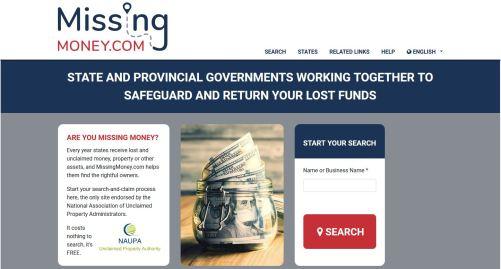MissingMoney.com website screenshot