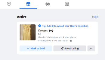 Active items for sale on Facebook Marketplace that you can Mark as Sold once the item sells..