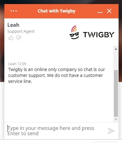 Twigby only offers support via chat