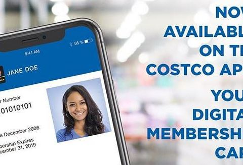 Digital membership card on Costco app
