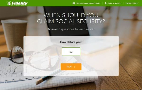 Fidelity Investments Social Security calculator screenshot
