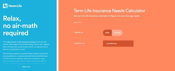 Haven Life term life insurance needs calculator