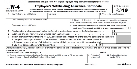Current W-4 form