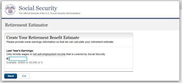 Screenshot of Social Security Retirement Estimator online calculator