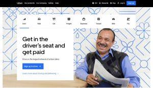 Uber homepage