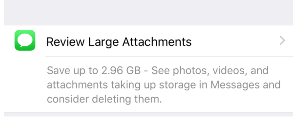 iPhone setting that shows how to review large attachments