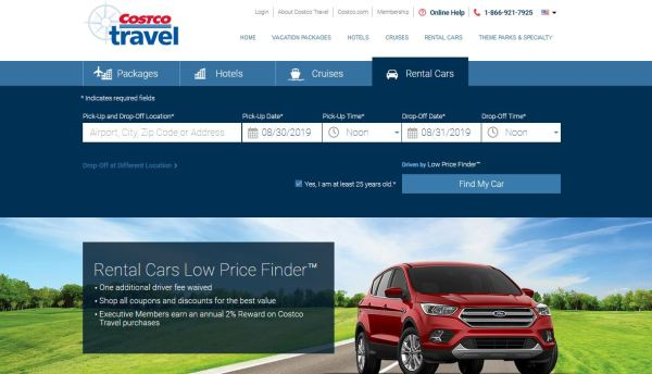 Costco Travel's car rental homepage