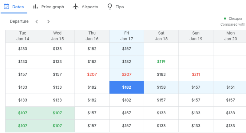 How to save money with Google Flights by using date grid calendar view
