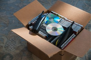 box of old CDs