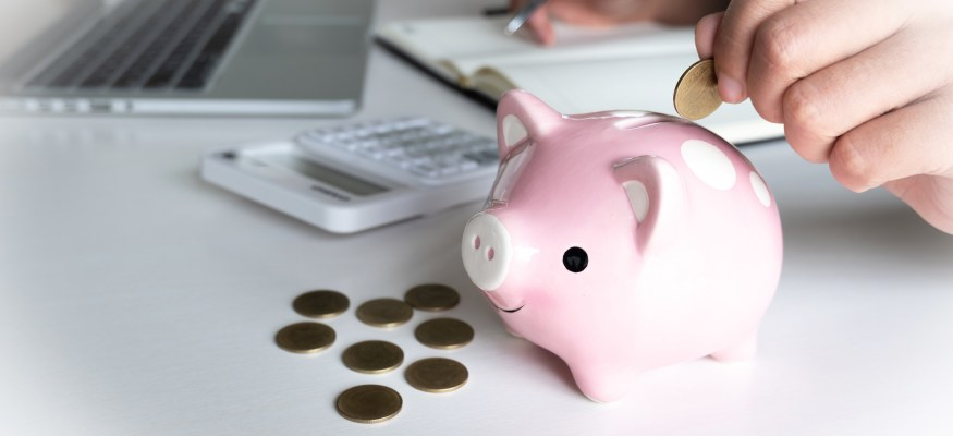 saving for retirement in piggy bank