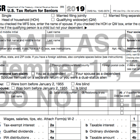IRS form 1040-SR