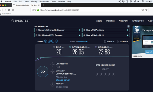 Mesh network speed test