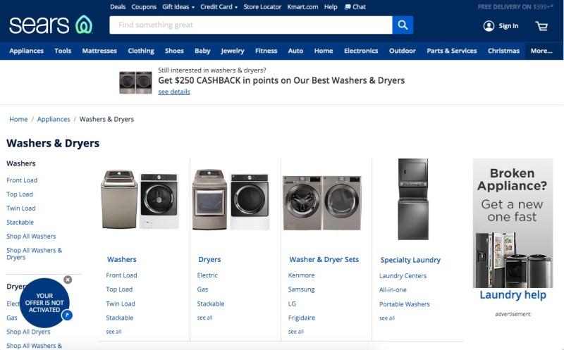 Sears Washers & Dryers
