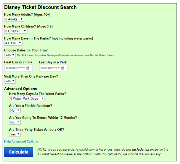 The touring plans discount Disney ticket calculator lets you comparison shop.