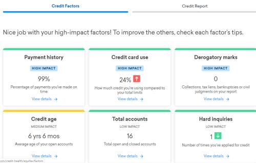 Credit Karma Credit Factors feature
