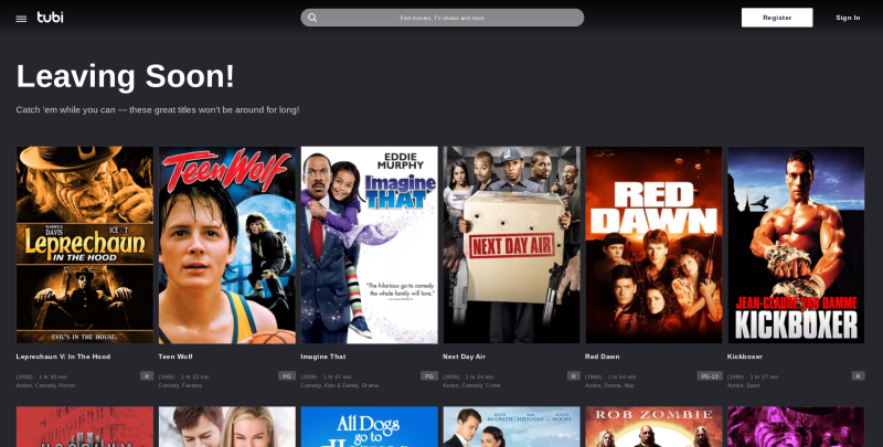 The leaving soon section of Tubi helps alert you of content changes.