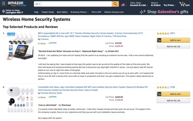 Webpage displaying wireless security systems available at Amazon
