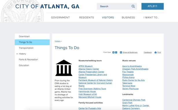Free things to do in Atlanta according to the city's government website.