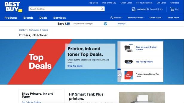 Webpage showing Best Buy printers