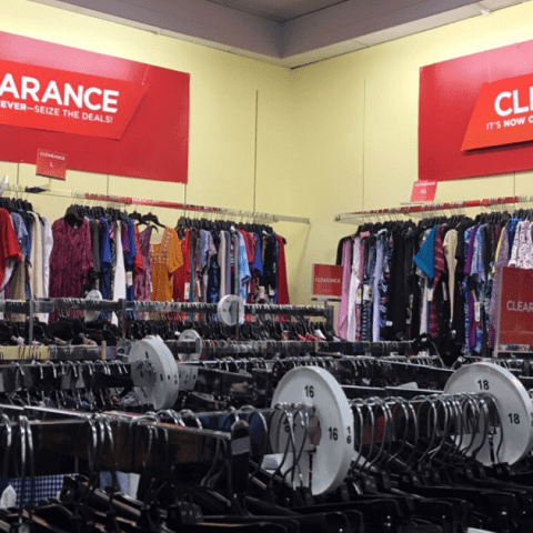 Clearance sales in clothing store