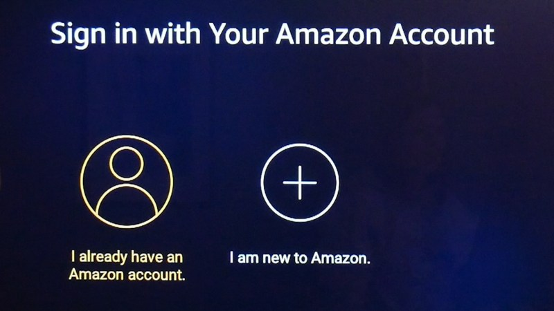 Login to Amazon account during the Amazon Fire TV Stick setup.