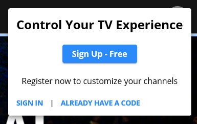 Signing up for an account with Pluto TV is optional.