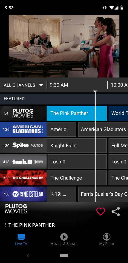 This is the channel guide that shows scheduled content.