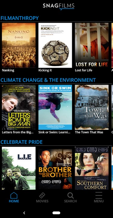 SnagFilms has a clean and easy-to-use menu.