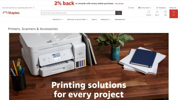Webpage showing printers at Staples
